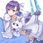 1girl bangs blue_eyes blush bow character_doll closed_mouth collarbone commentary_request eyebrows_visible_through_hair fate/extra fate/extra_ccc fate_(series) fou_(fate/grand_order) hair_bow heart jacket juliet_sleeves long_hair long_sleeves meltlilith object_hug pillow puffy_sleeves purple_hair simple_background sleeves_past_fingers sleeves_past_wrists smile solo stuffed_toy very_long_hair white_background white_bow white_jacket yuzu-aki
