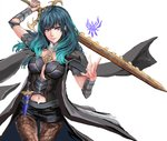 1girl absurdres black_shorts blue_eyes blue_hair byleth_(fire_emblem) byleth_(fire_emblem)_(female) closed_mouth dagger fire_emblem fire_emblem:_three_houses highres holding holding_sword holding_weapon jack_(kairuhaido) navel navel_cutout pantyhose sheath sheathed shorts simple_background solo sword weapon white_background
