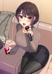 1girl bag black_hair black_legwear blush breasts collarbone cup drinking_glass eyebrows_visible_through_hair handbag highres holding holding_cup holding_microphone kagematsuri large_breasts long_sleeves looking_at_viewer microphone multicolored_hair open_mouth original pantyhose purple_hair short_hair sitting smile solo sweater tongue twitter_username two-tone_hair