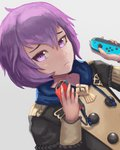 1girl bernadetta_von_varley commentary_request dutch_angle fire_emblem fire_emblem:_three_houses hair_between_eyes hands_up hiyuchimaki holding_controller joy-con looking_at_viewer purple_eyes purple_hair short_hair simple_background solo uniform upper_body