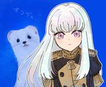1girl animal artist_request bangs closed_mouth epaulettes fire_emblem fire_emblem:_three_houses jacket long_hair long_sleeves looking_at_viewer lysithea_von_cordelia pink_eyes purple_eyes simple_background solo uniform upper_body white_background white_hair