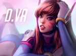 1girl artist_name ass blurry bodysuit brown_eyes brown_hair character_name d.va_(overwatch) depth_of_field gloves hand_on_own_head long_hair looking_at_viewer lying number on_stomach overwatch parted_lips pilot_suit realistic solo svetlana_tigai whisker_markings white_gloves
