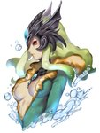 1girl absurdres black_sclera breasts breasts_apart center_opening cropped_torso fish_girl from_side gem green_hair helmet highres kumiko_shiba large_breasts league_of_legends lips long_hair mermaid monster_girl nami_(league_of_legends) parted_lips red_eyes sidelocks simple_background solo upper_body water white_background white_skin