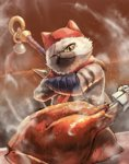 bell cat cat_focus chicken_(food) closed_mouth commentary_request crossed_arms felyne food fur hat highres jingle_bell kuroi_susumu looking_at_viewer meowscular_chef monster_hunter monster_hunter:_world no_humans npc one_eye_closed scar scar_across_eye scarf solo standing steam upper_body weapon weapon_on_back yellow_eyes