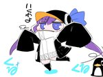 1girl animal_hood bird blue_eyes blush_stickers chibi commentary_request eyebrows_visible_through_hair fate/extra fate/extra_ccc fate_(series) hair_between_eyes hat hat_ribbon hood long_hair long_sleeves looking_at_viewer meltryllis meltryllis_(swimsuit_lancer)_(fate) outstretched_arms penguin purple_hair ribbon sako_(bosscoffee) sleeves_past_wrists solo spread_arms standing translation_request white_background wide_sleeves