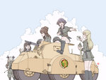 5girls anchovy anzio_military_uniform black_hair blonde_hair blush braid brown_hair canteen carpaccio cloud commentary cup dagger gaiters girls_und_panzer glasses graphite_(medium) green_hair headwear_removed helmet helmet_removed highres hot military military_vehicle mixed_media multiple_girls open_clothes open_mouth open_shirt pepperoni_(girls_und_panzer) reaching_out riding_crop shirt side_braid signature siko_(girls_und_panzer) sitting skirt sky sweat traditional_media uniform weapon yoshikawa_kazunori