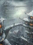 1girl black_cloak bridge building cloak commentary english_commentary grey_sky highres icicle lantern original outdoors sketch snow snowing solo speedpaint standing wlop