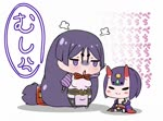 2girls :o absurdly_long_hair angry animated black_legwear black_panties check_commentary chibi closed_eyes closed_mouth commentary commentary_request fate/grand_order fate_(series) gem headpiece hitting horns japanese_clothes jitome kimono long_hair low-tied_long_hair minamoto_no_raikou_(fate/grand_order) mp4 multiple_girls obi off_shoulder oni oni_horns onomatopoeia panties pelvic_curtain puffy_short_sleeves puffy_sleeves purple_eyes purple_hair rei_(rei_rr) sash short_eyebrows short_hair short_sleeves shuten_douji_(fate/grand_order) simple_background sitting smile standing thighhighs translation_request underwear very_long_hair white_background wide_sleeves