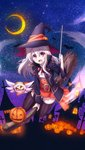 1girl :d absurdres albino artist_request bangs bat black_legwear blue_jacket broom broom_riding crescent_moon cross dot_nose dress_shirt eyebrows_visible_through_hair fate/kaleid_liner_prisma_illya fate_(series) floating_hair flying full_body hair_between_eyes halloween halloween_costume hand_up hat hat_ribbon highres holding holding_wand illyasviel_von_einzbern jack-o'-lantern jacket long_hair long_sleeves looking_at_viewer magical_ruby miniskirt moon neck_ribbon official_art open_clothes open_jacket open_mouth orange_skirt outdoors pale_skin pleated_skirt popped_collar pumpkin red_eyes red_ribbon ribbon shirt silver_hair skirt sky smile solo star star_(sky) starry_moon starry_sky thighhighs visible_air wand white_hair white_shirt witch witch_hat zettai_ryouiki