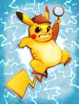 blue_background blush_stickers commentary creature detective_pikachu detective_pikachu_(movie) electricity english_commentary gen_1_pokemon grin hat holding holding_magnifying_glass looking_at_viewer magnifying_glass no_humans pikachu pokemon pokemon_(creature) smile solo vaporotem