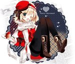 1girl alice_margatroid alternate_costume black_legwear blonde_hair blue_eyes blush boots bow cake christmas cierra_(ra-bit) coat dish food fork gloves hairband hat lolita_hairband long_sleeves looking_at_viewer one_eye_closed open_mouth pantyhose scarf short_hair solo text touhou winter_clothes