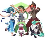 1boy 2girls :d >:( \o/ alolan_marowak arms_up black_skin blue_eyes blue_fire blue_hair blue_pants bone brown_hair covered_navel cross cross_necklace dark_skin dress fire fish flower gen_7_pokemon green_eyes green_hair grey_dress hair_flower hair_ornament hand_on_own_arm headpiece holding holding_bone jewelry kaki_(pokemon) long_hair looking_at_viewer mao_(pokemon) marowak multiple_girls navel necklace open_mouth outstretched_arms overalls pants poke_ball pokemon pokemon_(creature) pokemon_(game) pokemon_sm red_hair round_teeth sailor_collar salute sandals school_swimsuit shirt shirtless short_hair shorts sleeveless sleeveless_shirt smile spread_legs standing steenee suiren_(pokemon) swimsuit swimsuit_under_clothes teeth tonami_kanji tooth_necklace upper_teeth walking wishiwashi