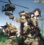 3girls action aircraft ammunition armor assault_rifle bag blonde_hair blue_eyes boots brown_eyes brown_hair camouflage carrying_over_shoulder glasses glock gloves gun handgun headband heckler_&_koch helicopter helmet highres hk416 holding holding_gun holding_weapon load_bearing_vest looking_at_viewer m4_carbine magazine_(weapon) military military_operator military_uniform military_vehicle multiple_girls ocp_(camo) original person_carrying rifle short_hair soldier stuffed_animal stuffed_toy tantu_(tc1995) teddy_bear uh-60_blackhawk uniform us_air_force watch weapon weapon_on_back wristwatch