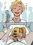 2boys :d absurdres bar_censor blonde_hair blush bracelet censored commentary crossdressing deodorant earrings eyeliner fang gomabura gyaruo highres instant_loss_2koma jewelry looking_at_viewer makeup male_focus male_pubic_hair mole mole_under_eye multiple_boys open_mouth original otoko_no_ko penis penis_on_face penis_over_one_eye pov pubic_hair purple_nails side_ponytail sitting smegma smelling_penis smile solo_focus spread_legs sweat translated yaoi