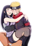 1boy 1girl 774_(nanashi) arms_around_neck black_hair blonde_hair blush boots carrying cheek-to-cheek closed_eyes couple grin happy hetero hyuuga_hinata lavender_eyes long_hair naruto naruto:_the_last naruto_shippuuden one_eye_closed open_mouth princess_carry scarf short_hair short_shorts shorts smile thighhighs uzumaki_naruto