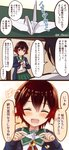1boy 1girl 3koma admiral_(kantai_collection) blue_jacket brown_hair comic commentary_request cowboy_shot crescent crescent_moon_pin gradient_hair green_sailor_collar green_skirt highres index_finger_raised jacket kantai_collection looking_at_viewer multicolored_hair mutsuki_(kantai_collection) neckerchief ootori_(kyoya-ohtori) open_mouth origami pantyhose paper_crane pleated_skirt red_eyes red_hair red_neckwear remodel_(kantai_collection) sailor_collar school_uniform serafuku short_hair skirt smile translation_request twitter_username upper_body
