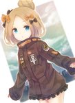 1girl :o abigail_williams_(fate/grand_order) bangs black_bow black_jacket blonde_hair blue_eyes bow cloud cloudy_sky commentary_request eyebrows_visible_through_hair fate/grand_order fate_(series) forehead hair_bow hair_bun heroic_spirit_traveling_outfit jacket long_hair long_sleeves looking_at_viewer multiple_hair_bows orange_bow parted_bangs parted_lips polka_dot polka_dot_bow sky skyline sleeves_past_fingers sleeves_past_wrists solo star white_background yonema