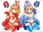 4girls :3 :d >:3 alternate_costume animal_ears blue_eyes blue_hair breasts brown_eyes brown_hair chibi claws cleavage commentary_request cosplay elbow_gloves gloves gradient_hair jewelry kemono_friends looking_at_viewer multicolored_hair multiple_girls navel necklace open_mouth paw_pose red_hair seiza serval_(kemono_friends) serval_ears serval_print serval_tail shisa_lefty shisa_lefty_(cosplay) shisa_right shisa_right_(cospaly) short_hair simple_background sitting smile tail tanaka_kusao thighhighs white_background