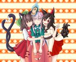 3girls :d ;) animal_ears aura brown_eyes brown_hair bubble_skirt cat_ears cat_tail chen commentary_request dress expressionless fang fang_out haruirokomici hata_no_kokoro imaizumi_kagerou long_hair mask monkey_mask multicolored multicolored_background multiple_girls multiple_tails one_eye_closed open_mouth pink_hair plaid plaid_shirt red_eyes shirt short_hair short_sleeves skirt smile sweatdrop tabard tail touhou two_tails v wolf_ears wolf_tail