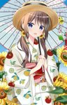 1girl :d bangs blue_eyes blue_sky blurry blurry_foreground blush brown_hair brown_headwear cloud day depth_of_field eyebrows_visible_through_hair flower food_print hair_between_eyes hair_flower hair_ornament highres holding holding_umbrella japanese_clothes kimono lemon_print long_hair long_sleeves looking_at_viewer low_twintails obi open_mouth oriental_umbrella original outdoors print_kimono ryoutan sash sky smile snowflake_hair_ornament solo sunflower transparent transparent_umbrella twintails umbrella upper_body white_kimono wide_sleeves wind_chime yellow_flower