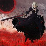 1girl absurdres artoria_pendragon_(all) bangs black_dress black_footwear black_ribbon black_skirt black_sun blonde_hair boots braid braided_bun breasts cloud cloudy_sky commentary_request detached_sleeves dress fate/grand_order fate/stay_night fate_(series) field flower flower_field full_body gothic_lolita grey_sky hair_bun hakubi_(user_uxpz2833) high_heel_boots high_heels highres holding holding_sword holding_weapon huge_filesize juliet_sleeves lips lolita_fashion long_hair long_skirt long_sleeves looking_at_viewer medium_breasts outdoors petals puffy_sleeves ribbon saber_alter serious signature skirt skirt_hold sky smoke solo spider_lily standing sun sword weapon yellow_eyes