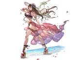 1girl armlet bag bangs bare_shoulders bikini bracelet breasts brown_hair cleavage floral_print full_body granblue_fantasy halterneck handbag hat holding jewelry large_breasts lips long_hair looking_at_viewer minaba_hideo official_art parted_lips petals platform_footwear purple_bikini purple_eyes rosetta_(granblue_fantasy) sandals sarong see-through shiny smile solo standing sun_hat swimsuit thigh_strap transparent_background very_long_hair water