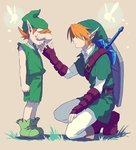 2boys arm_up artist_request bare_arms beige_background belt blonde_hair boots brown_belt brown_footwear clenched_hands crying earrings fairy full_body gauntlets green_footwear green_headwear green_shirt green_shorts green_tunic hand_up jewelry kneeling kokiri link male_focus master_sword mido_(ocarina_of_time) multiple_boys navi orange_hair pantyhose phrygian_cap pointy_ears shadow shield shirt shorts sidelocks simple_background sleeveless sleeveless_shirt standing tears the_legend_of_zelda the_legend_of_zelda:_ocarina_of_time tunic weapon weapon_on_back white_legwear