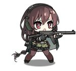 1girl animated animated_gif black_hair cape chibi elbow_pads fingerless_gloves full_body girls_frontline gloves gun headphones long_hair lowres official_art pantyhose red_eyes simple_background skirt smile solo submachine_gun type_64_(girls_frontline) type_64_smg weapon white_background