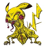 full_body gen_1_pokemon lowres monster no_humans pikachu pixel_art pointy_ears pokemon pokemon_(creature) sharp_teeth simple_background standing teeth tongue tongue_out tusika white_background