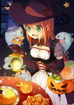 1girl absurdres bucket candy cookie crescent_moon doughnut dress drooling elbow_gloves food ghost gloves green_eyes halloween hat highres jack-o'-lantern lantern lollipop long_hair mii_(nano0o0) moon night orange_hair original solo tagme window witch_hat