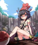 1girl :o ? ^_^ bag beanie black_hair blue_eyes bob_cut bruise bruise_on_face burnt burnt_clothes closed_eyes cloud commentary_request confused crater day gen_1_pokemon gen_7_pokemon happy hat highres injury knees_together_feet_apart midriff mimikyu mizuki_(pokemon) open_mouth pokemon pokemon_(creature) pokemon_(game) pokemon_sm shipii_(jigglypuff) shirt shoes short_hair short_shorts shorts shoulder_bag sitting smile smoke sneakers sweatdrop torn_clothes torn_shirt voltorb