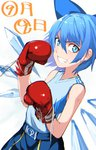 1girl bare_shoulders blue_bow blue_eyes blue_hair bow boxing_gloves cirno dated fang grin hair_bow ice ice_wings kinketsu short_hair simple_background smile solo tank_top touhou white_background wings
