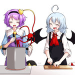 4girls :d ^_^ ahoge apron ascot bat_wings black_hat blue_shirt bow brooch closed_eyes commentary_request fang flandre_scarlet hairband hat hat_bow hat_ribbon heart huge_ahoge jewelry kameyan komeiji_koishi komeiji_satori ladle lavender_hair long_sleeves mob_cap multiple_girls open_mouth pot purple_hair red_ribbon remilia_scarlet ribbon shirt smile third_eye touhou wide_sleeves wings yellow_bow