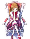 1girl aisaki_emiru bangs blunt_bangs blush bow bowtie brown_hair chair commentary crossed_legs dress elbow_on_knee frilled_dress frills frown full_body hair_bow hugtto!_precure long_hair precure puffy_short_sleeves puffy_sleeves red_eyes red_footwear sad shoes short_sleeves simple_background sitting sketch solo thighhighs tokeshi twintails white_background