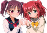 2girls bangs blush bow closed_mouth commentary_request ears_visible_through_hair eyebrows_visible_through_hair green_eyes hair_between_eyes heart heart_hands kazuno_leah kurosawa_ruby looking_at_viewer love_live! love_live!_sunshine!! multiple_girls purple_eyes purple_hair red_hair saint_snow school_uniform sidelocks twintails umekichi white_background yellow_bow