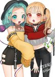 2girls :d :o adapted_costume alternate_costume bangs bare_shoulders belt black_belt black_choker black_headwear black_pants black_skirt blonde_hair blush casual character_name choker commentary contemporary cowboy_shot crop_top crystal ear_piercing eyebrows_visible_through_hair fangs flandre_scarlet forehead gotoh510 green_eyes green_hair hair_ribbon hand_on_hip heart_cutout highres hood hoodie komeiji_koishi long_hair long_sleeves looking_at_viewer midriff miniskirt multiple_girls nail_polish navel no_hat no_headwear off-shoulder_shirt off_shoulder one_side_up open_mouth pants pencil_skirt piercing pointy_ears red_eyes red_hoodie red_nails red_ribbon ribbon shirt short_hair simple_background skirt sleeves_past_fingers sleeves_past_wrists smile standing stomach symbol_commentary thighs third_eye touhou white_background wide_sleeves wings yellow_shirt zipper
