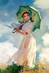 1girl anz black_hair blue_eyes dress fine_art_parody from_below grass hat highres jojo_no_kimyou_na_bouken parasol parody sherry_polnareff sky umbrella white_dress