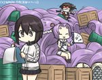 3girls absurdly_long_hair box clipboard commentary_request crate dated drum_(container) elbow_gloves fan flying_sweatdrops gloves hair_intakes hair_ornament hamu_koutarou hatsuharu_(kantai_collection) hayasui_(kantai_collection) holding holding_fan jacket kantai_collection long_hair mask multiple_girls ponytail purple_hair remodel_(kantai_collection) scarf sendai_(kantai_collection) short_hair skirt sleeveless smile steel_ingot too_many track_jacket translated two_side_up very_long_hair white_scarf writing