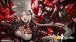 3girls bangs bare_shoulders black_gloves black_hair black_legwear black_serafuku black_shorts black_skirt boots breasts cleavage cleavage_cutout commentary_request copyright_name elbow_gloves electricity executioner_(girls_frontline) floating_hair girls_frontline gloves hair_between_eyes hair_ornament hairclip highres horns hunter_(girls_frontline) impossible_clothes impossible_leotard infukun jacket large_breasts leotard logo long_hair looking_at_viewer medium_breasts midriff multiple_girls official_art open_clothes open_jacket open_mouth ouroboros_(girls_frontline) pale_skin parted_lips pleated_skirt red_eyes sangvis_ferri school_uniform serafuku shorts sidelocks skirt smile thigh_boots thighhighs twintails very_long_hair watermark white_hair yellow_eyes