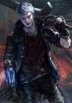 1boy artist_name blue_eyes blue_jacket blurry blurry_background commentary devil_may_cry devil_may_cry_5 fingerless_gloves gloves glowing highres hood hood_down hooded_jacket jacket jewelry mechanical_arm necklace nero_(devil_may_cry) open_clothes open_jacket oreki_genya over_shoulder parted_lips red_queen_(sword) shirt short_hair silver_hair single_glove smile solo standing sword torn_clothes torn_shirt very_short_hair weapon weapon_over_shoulder