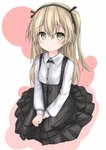 1girl bangs black_neckwear black_ribbon black_skirt blush bow bowtie casual collared_shirt commentary_request eyebrows_visible_through_hair full_body girls_und_panzer hair_ribbon hands_on_lap high-waist_skirt highres langley1000 layered_skirt light_brown_eyes light_brown_hair light_frown long_hair long_sleeves looking_at_viewer one_side_up parted_lips ribbon shimada_arisu shirt sitting skirt solo suspender_skirt suspenders white_shirt