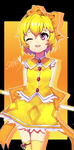 1girl arms_behind_back bad_id blonde_hair bow character_name gohj1223 hair_bow heart higurashi_no_naku_koro_ni houjou_satoko magical_girl one_eye_closed purple_eyes short_hair solo standing thighhighs wand yellow_legwear zettai_ryouiki
