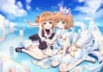 2girls :d absurdres arm_support bangs between_legs black_footwear black_shirt blue_sky blurry blurry_background blush boku_koyuki_mx card cardcaptor_sakura clear_card closed_mouth cloud commentary_request crown day depth_of_field dress dual_persona eyebrows_visible_through_hair feathered_wings fingernails gloves green_eyes hair_bobbles hair_ornament hand_between_legs hand_up high_heels highres holding holding_card horizon kinomoto_sakura light_brown_hair long_sleeves mary_janes mini_crown multiple_girls open_mouth outdoors pleated_skirt puffy_long_sleeves puffy_sleeves reflection round_teeth sailor_collar school_uniform shirt shoes short_hair sitting skirt sky sleeveless sleeveless_dress smile socks teeth tomoeda_elementary_school_uniform transparent two_side_up upper_teeth wariza white_dress white_footwear white_gloves white_legwear white_neckwear white_sailor_collar white_skirt white_wings wings