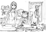 2boys 2girls apple arakawa_hiromu braid den_(fma) dog food fruit fullmetal_alchemist glasses highres kitchen knife may_chang multiple_boys multiple_girls official_art open_mouth panda pinako sketch sleeves_rolled_up smile van_hohenheim winry_rockbell xiao-mei