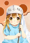 1girl :o bangs blue_shirt blush brown_eyes chahei character_name commentary_request diagonal-striped_background diagonal_stripes eyebrows_visible_through_hair flag flat_cap grey_hat hair_between_eyes hands_up hat hataraku_saibou highres holding holding_flag light_brown_hair looking_at_viewer parted_lips platelet_(hataraku_saibou) polka_dot polka_dot_background shirt short_sleeves solo striped striped_background v-shaped_eyebrows white_flag
