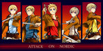 5boys ahoge axis_powers_hetalia blonde_hair blue_eyes blush denmark_(hetalia) finland_(hetalia) glasses grin hair_ornament hairclip iceland_(hetalia) kitou-daidai- male_focus multiple_boys norway_(hetalia) purple_eyes shingeki_no_kyojin smile sweden_(hetalia) three-dimensional_maneuver_gear uniform