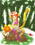 1girl animal_ears artist_request blush breasts breath_of_fire breath_of_fire_ii bustier cat_ears cat_tail claws facial_mark full_body furry gloves green_eyes no_panties no_pants open_mouth orange_hair rinpoo_chuan short_hair solo source_request tail