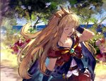 1girl benitama black_gloves blonde_hair cagliostro_(granblue_fantasy) cape closed_eyes crown day gloves granblue_fantasy hairband long_hair open_mouth outdoors solo