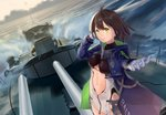 1girl ahoge arm_behind_head azur_lane baltimore_(azur_lane) bangs blue_coat breasts brown_hair center_opening chain closed_mouth cloud coat commentary gloves green_eyes hooded_coat large_breasts looking_at_viewer midriff_cutout mo_yu_de_jiaozi multicolored_coat navel ocean open_clothes open_coat outstretched_hand ship short_hair sky sun turret underboob_cutout water watercraft waves white_gloves