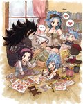 2boys 3girls :d black_hair black_shirt black_shorts blue_hair blush bookshelf breasts brown_legwear brown_nails brown_pants brown_shorts cleavage detached_sleeves eye_contact fairy_tail fang gajeel_redfox grey_legwear grin hand_on_another's_head headband heart holding holding_pen indian_style indoors levy_mcgarden long_hair looking_at_another multiple_boys multiple_girls nail_polish open_mouth overalls pantherlily pants pantyhose pen rusky shirt short_shorts short_sleeves shorts signature sitting sketch sketchbook sketching sleeveless small_breasts smile striped striped_shirt thighhighs vertical-striped_shirt vertical_stripes very_long_hair white_legwear window wooden_floor zettai_ryouiki